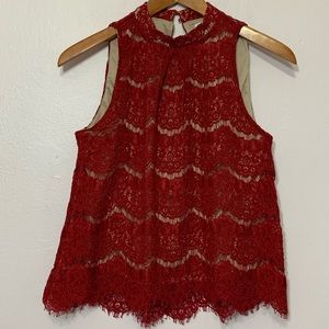 Love fire red lace top Size S/P